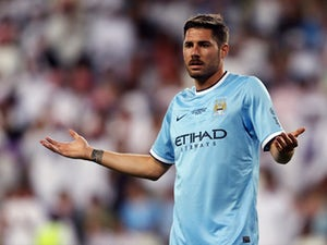 Javi Garcia reacts during the friendly match between Al Ain and Manchester City at Hazza bin Zayed Stadium on May 15, 2014