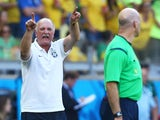 Head coach Luiz Felipe Scolari of Brazil reacts after a disallowed goal and a yellow card during the game with Chile on June 28, 2014