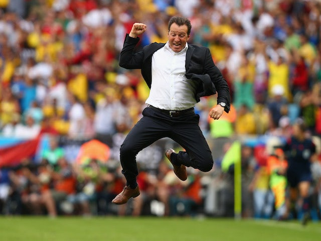 Head coach Marc Wilmots of Belgium jumps for joy after defeating Russia 1-0 during the 2014 FIFA World Cup Brazil Group H match at the Maracana in Rio de Janeiro on June 22, 2014