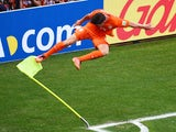 Klaas-Jan Huntelaar of the Netherlands celebrates scoring his team's second goal during the 2014 FIFA World Cup Brazil Round of 16 match between Netherlands and Mexico at Castelao on June 29, 2014