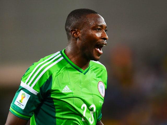 Shola Ameobi of Nigeria reacts during the 2014 FIFA World Cup Group F match between Nigeria and Bosnia-Herzegovina at Arena Pantanal on June 21, 2014