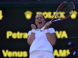 Czech Republic's Petra Kvitova celebrates winning her women's singles third round match against US player Venus Williams on day five of the 2014 Wimbledon Championships at The All England Tennis Club in Wimbledon, southwest London, on June 27, 2014