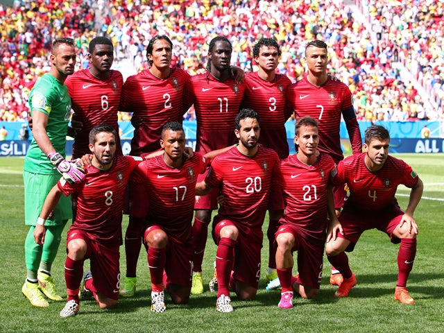 Portugal players pose for a team photo prior to the 2014 FIFA World Cup Brazil Group G match between Portugal and Ghana at Estadio Nacional on June 26, 2014