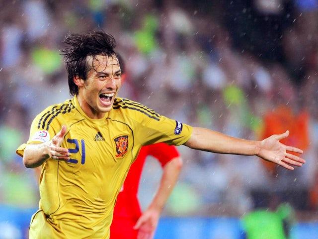 Spanish midfielder David Silva celebrates after scoring his team's third goal during the Euro 2008 championships semi-final football match Russia vs. Spain on June 26, 2008