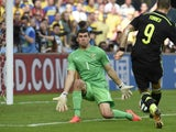 Spain's forward Fernando Torres scores his team's second goal during a Group B match between Australia and Spain at the Baixada Arena in Curitiba during the 2014 FIFA World Cup on June 23, 2014