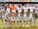 Members of the Uruguay national team pose prior to a Group D football match between Italy and Uruguay at the Dunas Arena in Natal during the 2014 FIFA World Cup on June 24, 2014