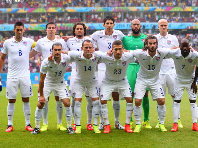 The United States pose for a team photo prior to the 2014 FIFA World Cup Brazil group G match between the United States and Germany at Arena Pernambuco on June 26, 2014