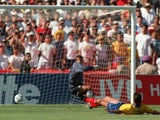 Colombian defender Andres Escobar scores an own goal at the World Cup on June 22, 1994.