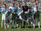 Argentina players pose for a team photo prior to the 2014 FIFA World Cup Brazil Round of 16 match between Argentina and Switzerland at Arena de Sao Paulo on July 1, 2014
