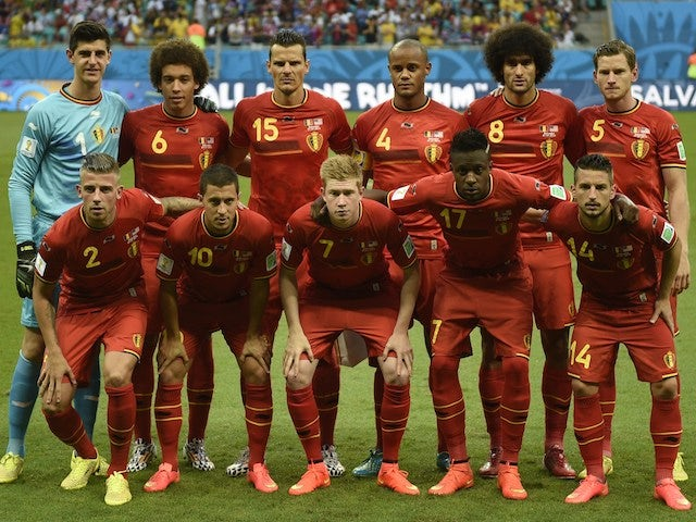 Belgium's players lineup before their game with USA on July 1, 2014