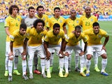 Brazil players pose for a team photo prior to the 2014 FIFA World Cup Brazil Quarter Final match between Brazil and Colombia at Castelao on July 4, 2014