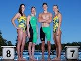 Brittany Elmslie, Bronte Barratt, Cameron McEvoy and Melanie Schlanger pose during the Australian Commonwealth Games Swim Team Speedo Uniform Launch on July 1, 2014