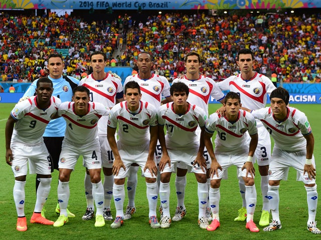 Members of the Costa Rica's national team  pose for the team photo prior to the quarter-final football match between the Netherlands and Costa Rica at the Fonte Nova Arena in Salvador during the 2014 FIFA World Cup on July 5, 2014