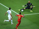 Divock Origi of Belgium shoots against Tim Howard of the United States during the 2014 FIFA World Cup Brazil Round of 16 match on July 1, 2014