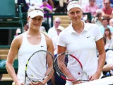 Eugenie Bouchard of Canada and Petra Kvitova of Czech Republic pose for a picture before the Ladies' Singles final match on July 5, 2014