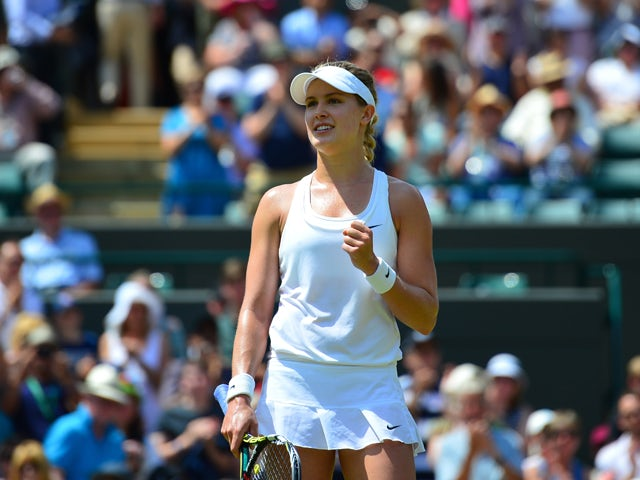 Canada's Eugenie Bouchard celebrates winning her women's singles quarter-final match against Germany's Angelique Kerber on day nine of the 2014 Wimbledon Championships at The All England Tennis Club in Wimbledon, southwest London, on July 2, 2014