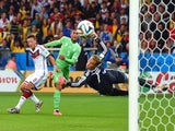 Faouzi Ghoulam of Algeria attempts a shot at goal during the 2014 FIFA World Cup Brazil Round of 16 match between Germany and Algeria at Estadio Beira-Rio on June 30, 2014