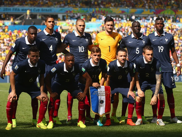 France players pose for a team photo prior to the 2014 FIFA World Cup Brazil Quarter Final match between France and Germany at Maracana on July 4, 2014