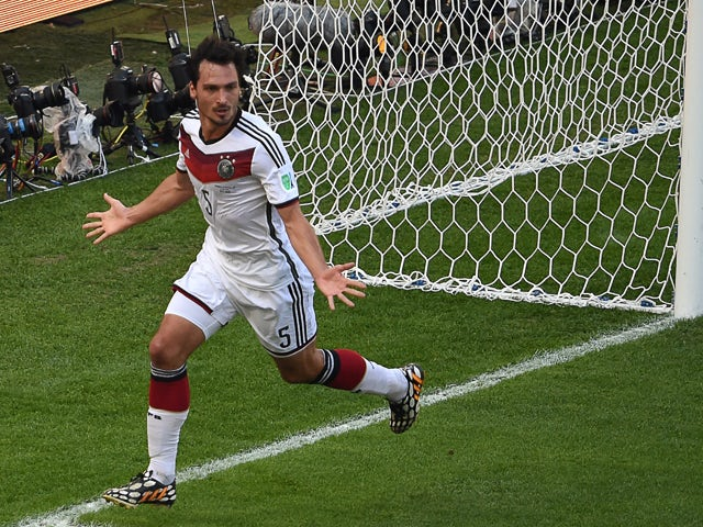 Germany's defender Mats Hummels celebrates his goal during a quarter-final football match between France and Germany at the Maracana Stadium in Rio de Janeiro during the 2014 FIFA World Cup on July 4, 2014