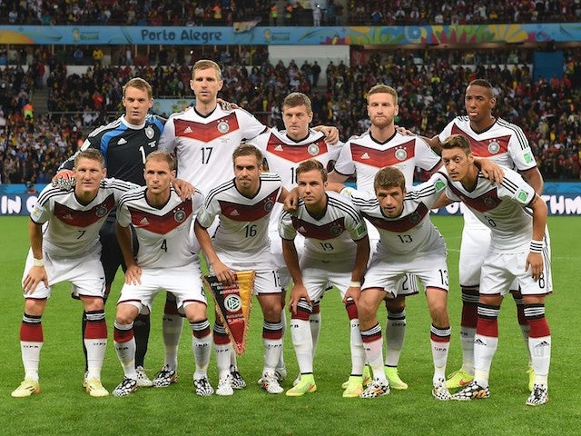 Germany lineup before their game with Algeria on June 30, 2014