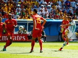 Gonzalo Higuain of Argentina scores his team's first goal during the 2014 FIFA World Cup Brazil Quarter Final match against Belgium on July 5, 2014