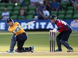 Will Smith of Hampshire hits out during the Natwest T20 Blast match between Kent Spitfires and Hampshire at St. Lawrence Ground on July 4, 2014