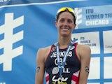 Helen Jenkins of Great Britain celebrates second place in the Elite Women's race in the 2014 ITU World Triathlon in Grant Park on June 28, 2014