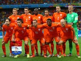 The Netherlands players pose for a team photo prior to the 2014 FIFA World Cup Brazil Quarter Final match between the Netherlands and Costa Rica at Arena Fonte Nova on July 5, 2014