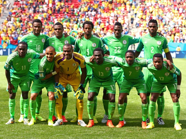 Nigeria pose for a team photo prior to the 2014 FIFA World Cup Brazil Round of 16 match between France and Nigeria at Estadio Nacional on June 30, 2014