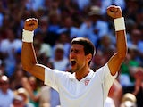 Novak Djokovic of Serbia celebrates after winning his Gentlemen's Singles semi-final match against Grigor Dimitrov of Bulgaria on day eleven of the Wimbledon Lawn Tennis Championships at the All England Lawn Tennis and Croquet Club on July 4, 2014