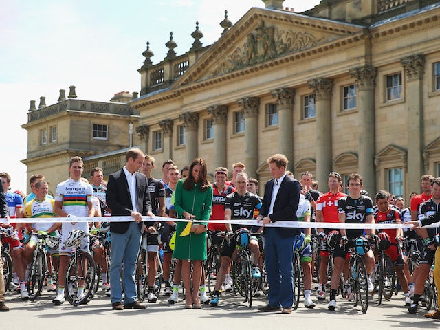 Prince William, Duke of Cambridge, Catherine, Duchess of Cambridge and Prince Harry start the first stage of the 2014 Tour de France, a 190km stage in Leeds on July 5, 2014