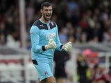 Scott Shearer of Rotherham United celebrates the opening goal during the Sky Bet League One match between Brentford and Rotherham United at Griffin Park, on October 05, 2013
