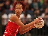 Serena Guthrie of England lines up a pass during the ZEO International Netball Tri Series match between England and Jamaica at Wembley Arena on January 18, 2014