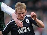 Stephen Kingsley of Falkirk in action against Hibs on April 13, 2013