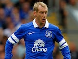 Tony Hibbert of Everton in action during the Pre Season Friendly match between Blackburn Rovers and Everton FC at Ewood Park on July 27, 201
