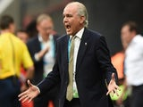 Argentina's coach Alejandro Sabella gestures during a quarter-final football match against Belgium on July 5, 2014