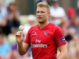 Andrew Flintoff of Lancashire looks on during the Natwest T20 Blast match between Worcestershire Rapids and Lancashire Lightning at New Road on July 6, 2014