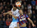 Tours' Andy Delort heads the ball during the French L2 football match between Caen and Tours at the Michel d'Ornano stadium in Caen on May 9, 2014