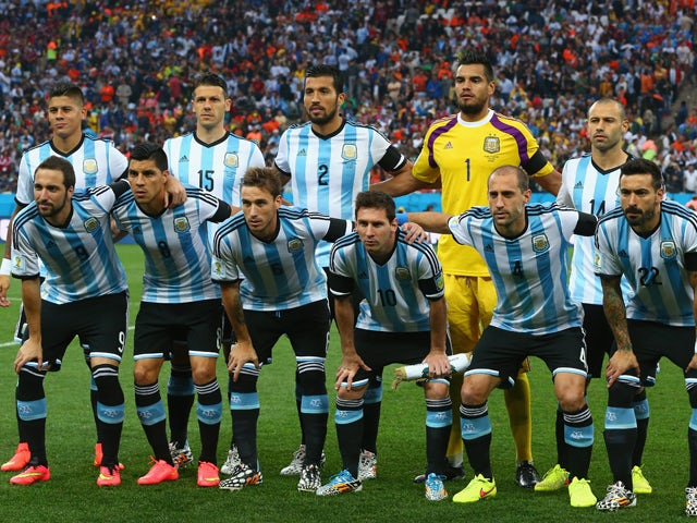 Argentina players pose for a team photo prior to the 2014 FIFA World Cup Brazil Semi Final match between the Netherlands and Argentina at Arena de Sao Paulo on July 9, 2014