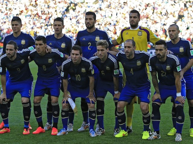 Argentina's players lineup before the World Cup final on July 13, 2014