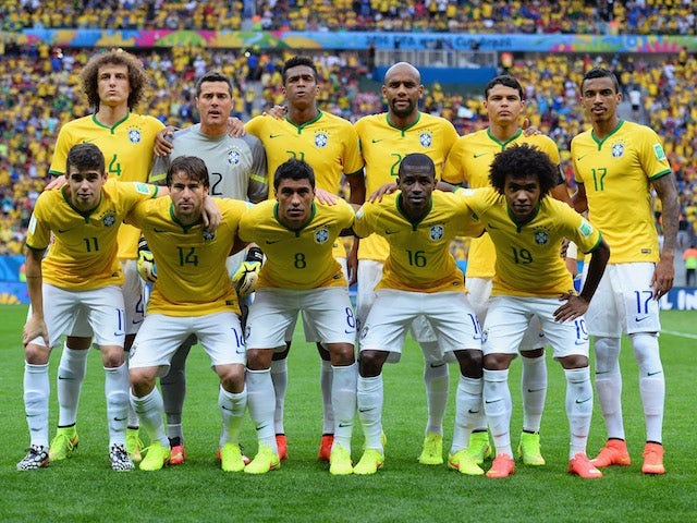 Brazil pose for a team photo prior to the 2014 FIFA World Cup Brazil Third Place Playoff match between Brazil and the Netherlands at Estadio Nacional on July 12, 2014
