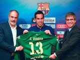 Barcelona unveil new player Claudio Bravo to the press on July 7, 2014.