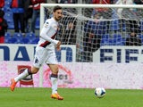 Davide Astori of Cagliari Calcio in action during the Serie A match between Genoa CFC and Cagliari Calcio at Stadio Luigi Ferraris on April 19, 2014