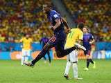Georginio Wijnaldum of the Netherlands celebrates scoring his team's third goal during the 2014 FIFA World Cup Brazil Third Place Playoff on July 12, 2014