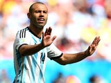 Javier Mascherano of Argentina reacts during the 2014 FIFA World Cup Brazil Quarter Final match between Argentina and Belgium at Estadio Nacional on July 5, 2014
