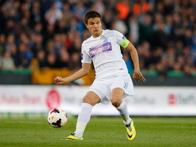 Jelle Vossen of Racing Genk in action during the Jupiler League match between Club Brugge and Racing Genk at the Jan Breydel Stadium on April 16, 2014