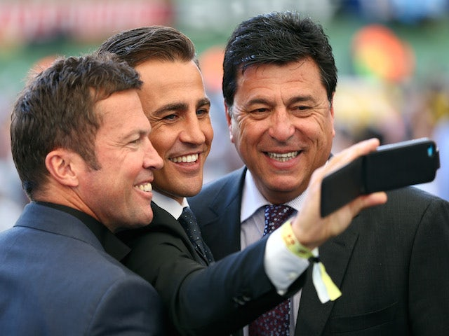 Former internationals Lothar Matthaeus, Fabio Cannavaro and Daniel Passarella take a selfie prior to the 2014 FIFA World Cup Brazil on July 13, 2014