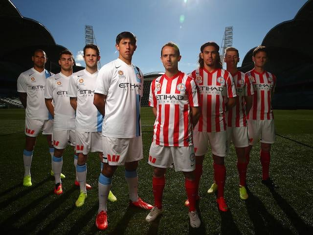 Melbourne City players line up for the announcement of Etihad as a sponsor on July 7, 2014.