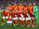 The Netherlands players pose for a team photo prior to the 2014 FIFA World Cup Brazil Semi Final match between the Netherlands and Argentina at Arena de Sao Paulo on July 9, 2014