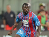 Souleymane Doukara of Catania during the Serie A match between Calcio Catania and FC Internazionale Milano at Stadio Angelo Massimino on September 1, 2013